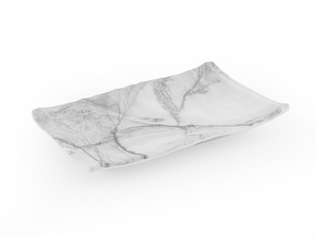 Folk Art Melamin Dikdörtgen Küçük Servis Tabağı 26x16 Cm Beyaz - Gri
