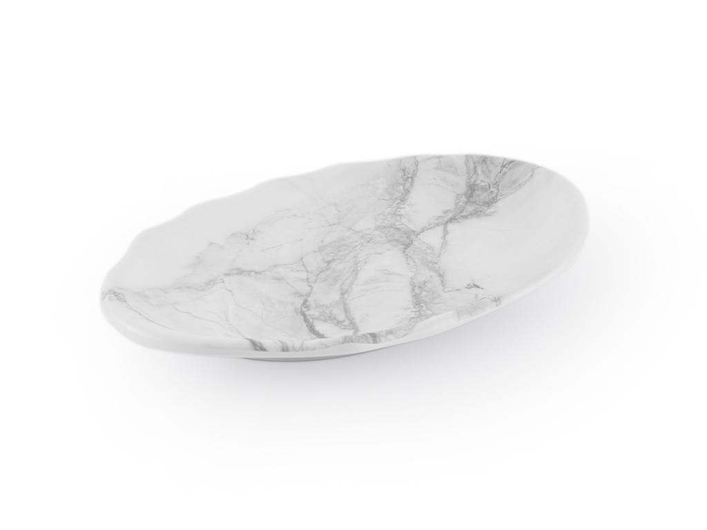 Girdwood Melamin Oval Servis Tabağı 31x21,5 Cm Beyaz - Gri