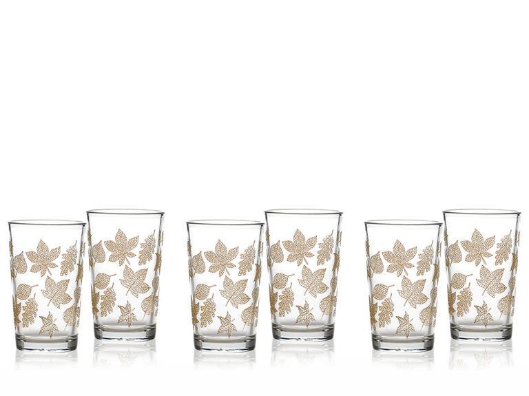 Allure Cam 6'lı Kahve Yanı Su Bardağı 100 Ml Açık Altın