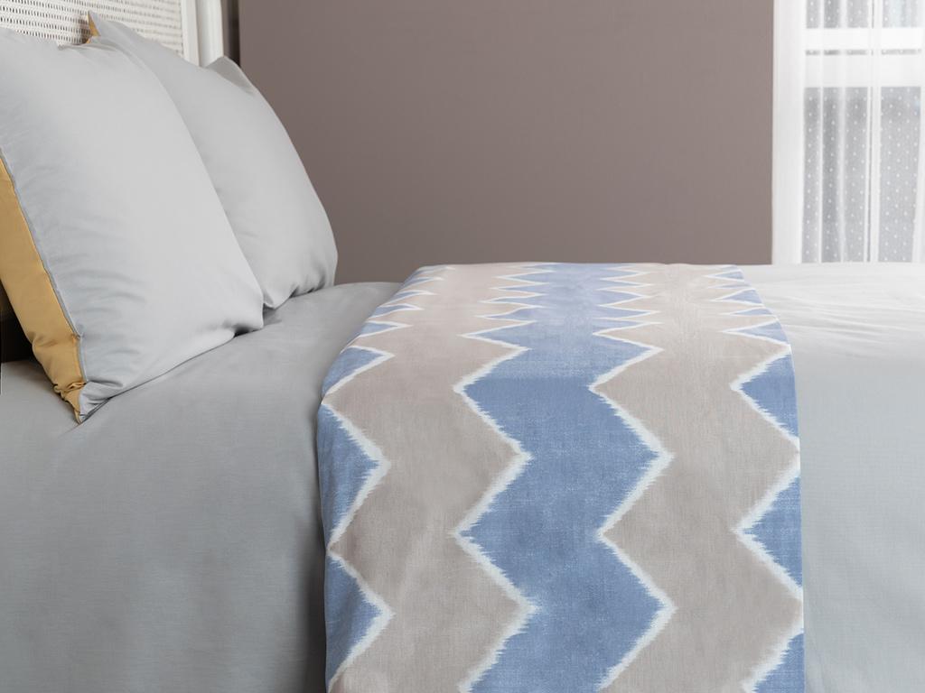 Pure Ikat Pamuklu Tek Kişilik Üst Çarşaf 160x235 Cm Mavi