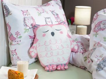 Sweet Owl Polyester Dekoratif Yastık 33x31 Pembe