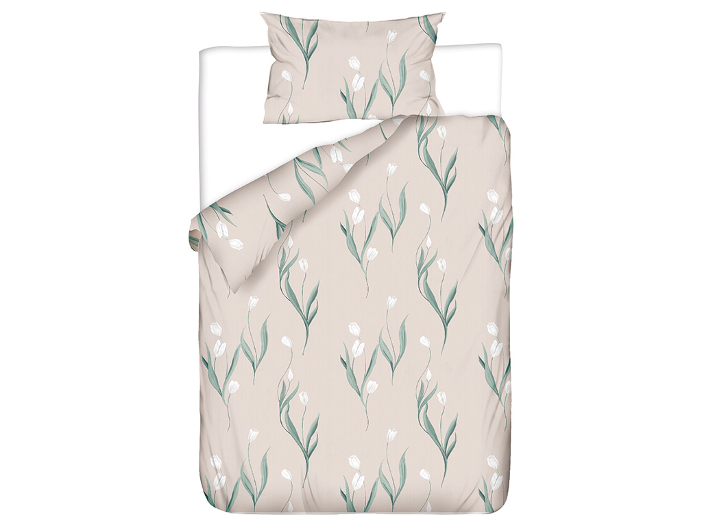 Tulip Garden Pamuklu Tek Kişilik Nevresim Seti 160x220 Cm Pembe
