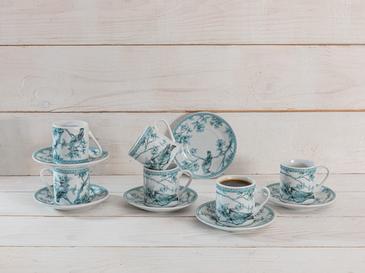 Birdy Porselen 12 Parça Kahve Fincan Takımı 80 Ml Açık Mavi