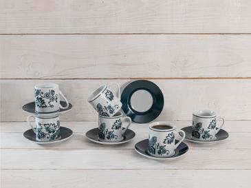 Betty Porselen 12 Parça Kahve Fincan Takımı 80 Ml Koyu Mavi