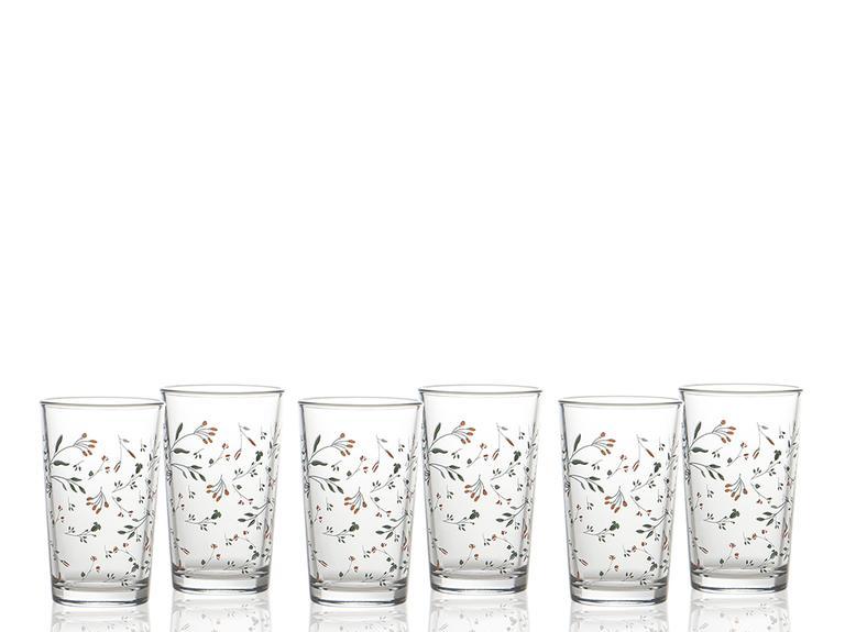 Flower Cam 6'lı Kahve Yanı Su Bardağı 100 Ml Renkli