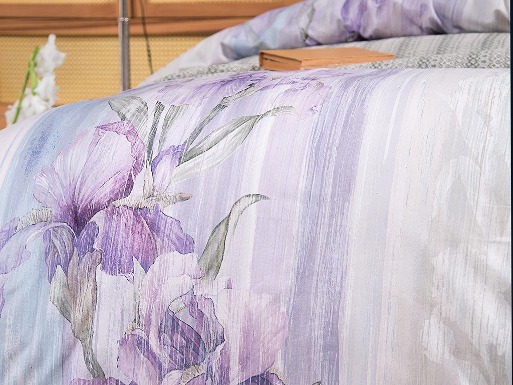 Pure Iris Pamuklu Çift Kişilik Nevresim Seti 200x220 Cm Lila