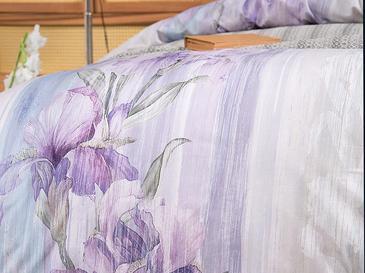Pure Iris Pamuklu King Size Nevresim Seti 240x220 Cm Lila