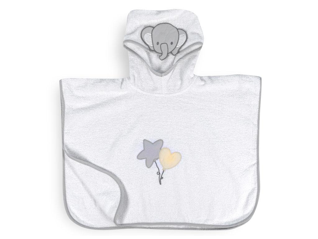 Happy Elephants Pamuklu Çocuk Panço 1-2 Yaş Beyaz