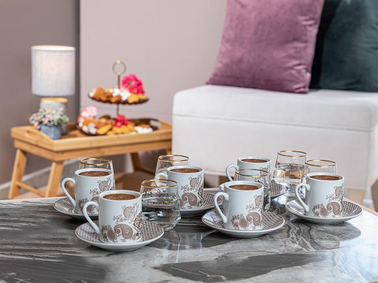 Bloom Porselen 12 Parça Kahve Fincan Takımı 80 Ml Açık Kahve