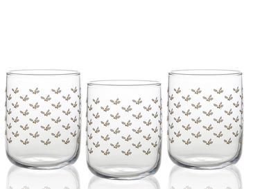 Kokina Cam 3'lü Meşrubat Bardağı 270 Ml Gold