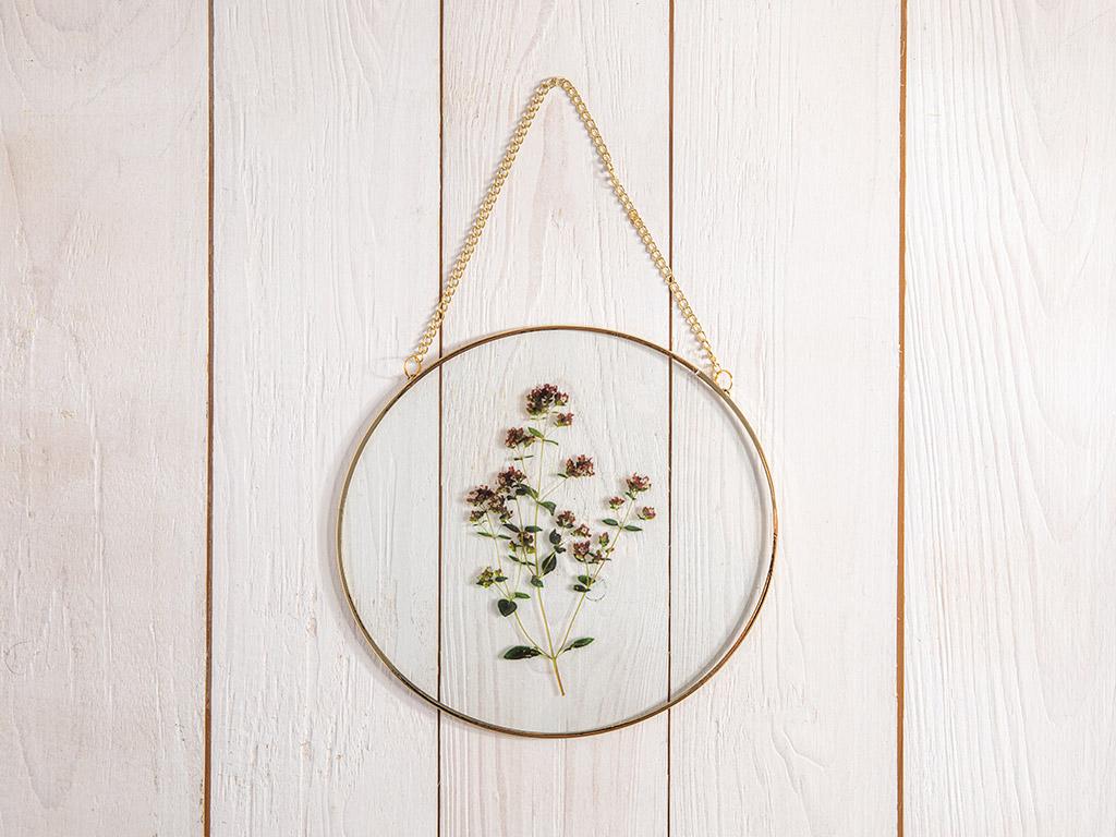 Natural Flower Glass/Metal Tablo 20x18,5 Cm Gold