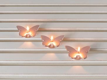 Butterflies Parafin 3'lü Mum 8,2x 6 X 2cm Rose Gold