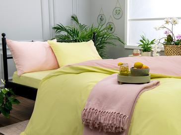 Plain Pamuk Tek Kişilik Nevresim Takımı 160x220 Cm Yavruağzı-limon Sarı