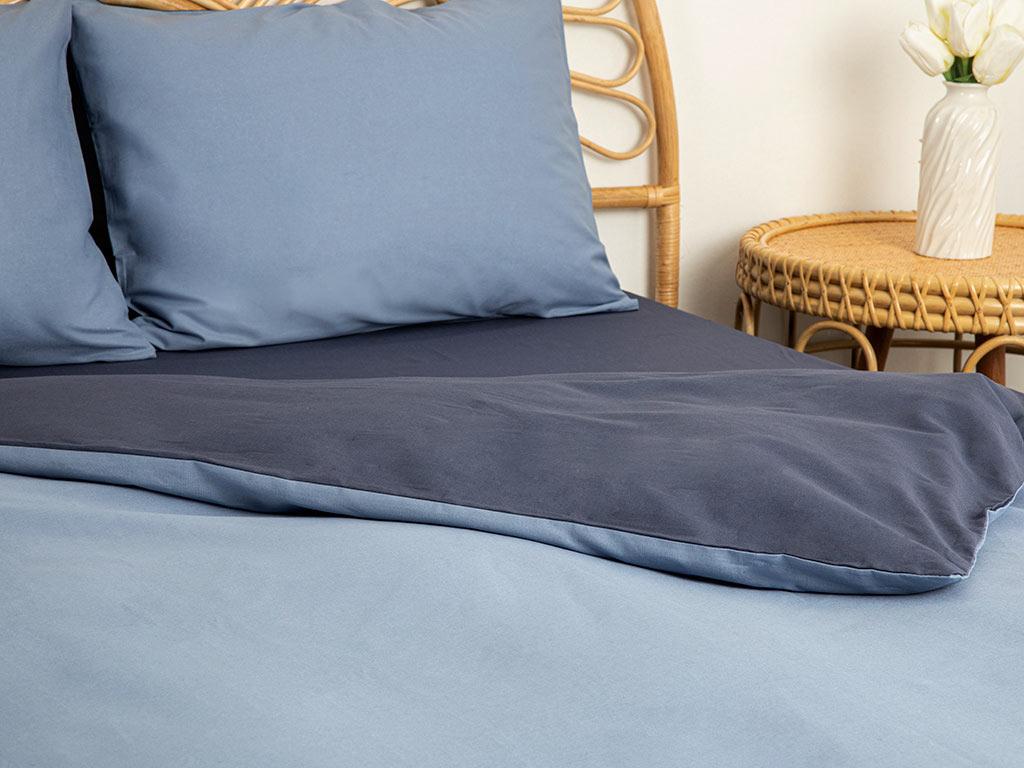Plain Pamuk Tek Kişilik Nevresim Takımı 160x220 Cm Mavi - Lacivert