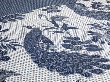 Peafowl King Size Çok Amaçlı Yatak Örtüsü 220x240 Cm Lacivert