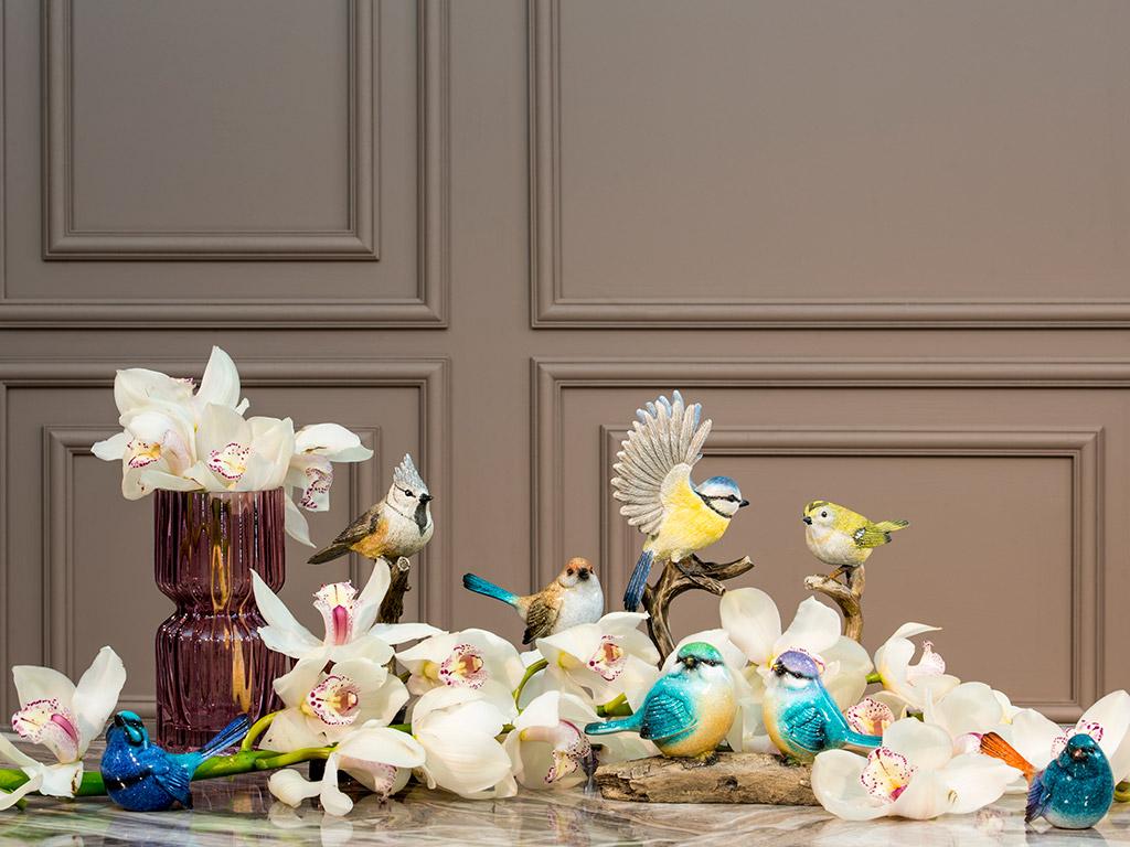 Bird Tweet Polyresin Dekoratif Obje 11,2x8,3x23,3 Cm Açık Kahve