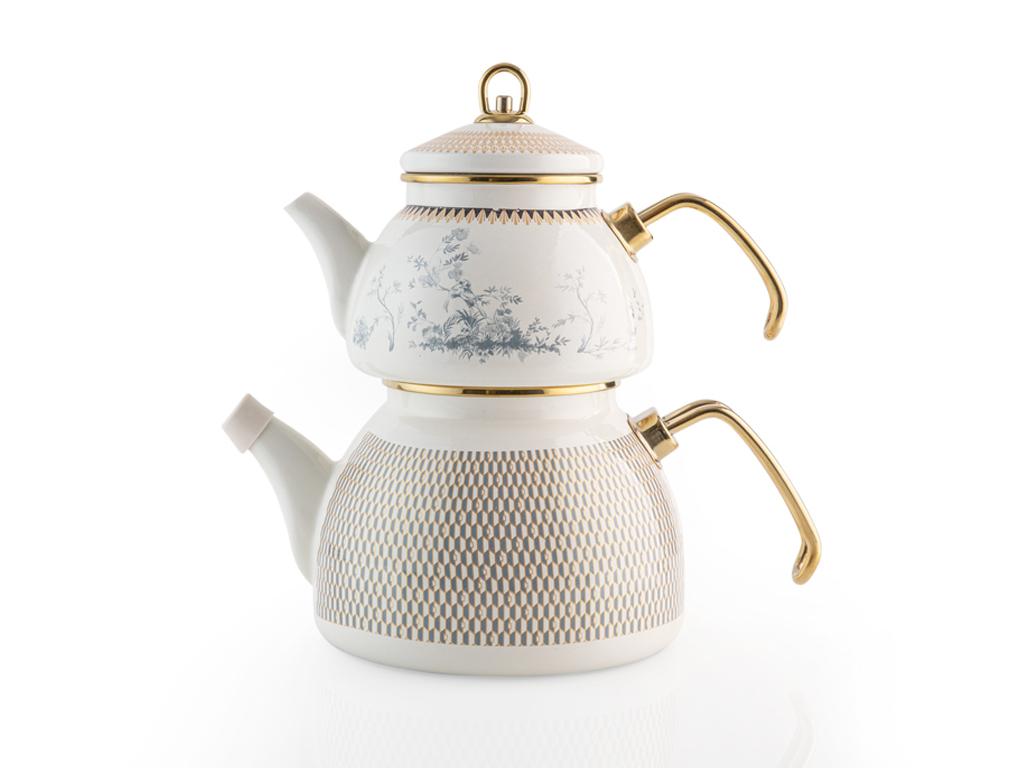 Tual Emaye Çaydanlık 2,5 L Beyaz - Mavi