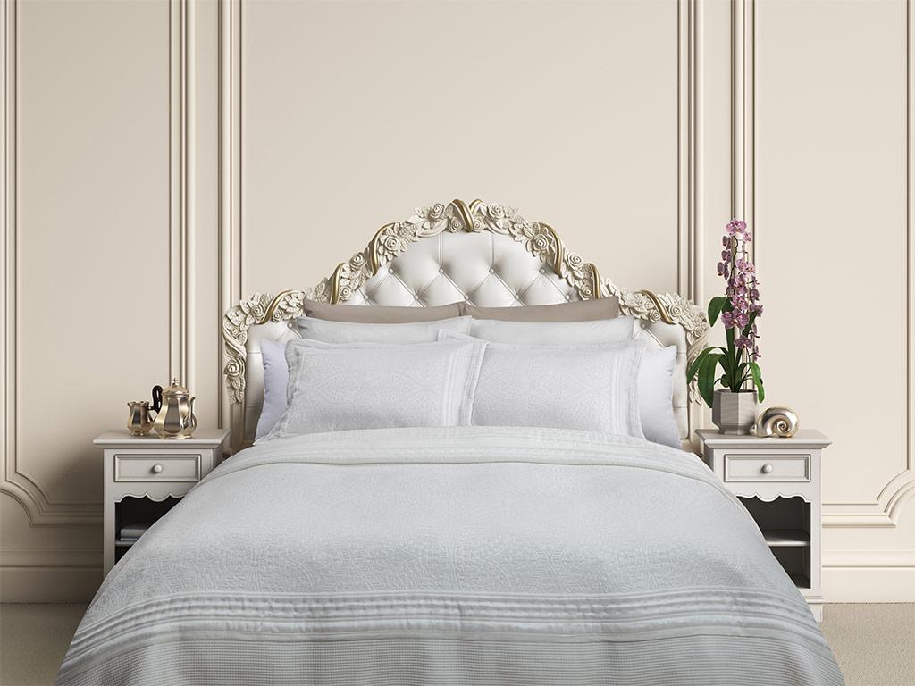 Glory Jakarlı King Size Yatak Örtüsü Takımı 280x280 Cm Beyaz