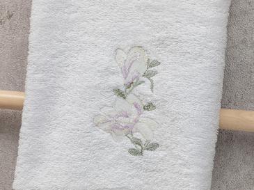 Magnolia Nakışlı Yüz Havlusu 50x80 Cm Beyaz-lila