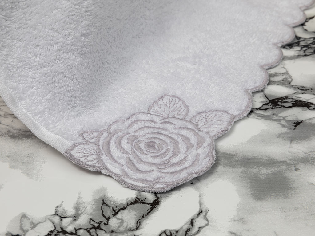 Big Flower Nakışlı El Havlusu 30x45 Cm Beyaz-Gri
