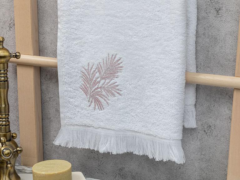 Palm Trees Nakışlı Yüz Havlusu 50X80 Cm Beyaz