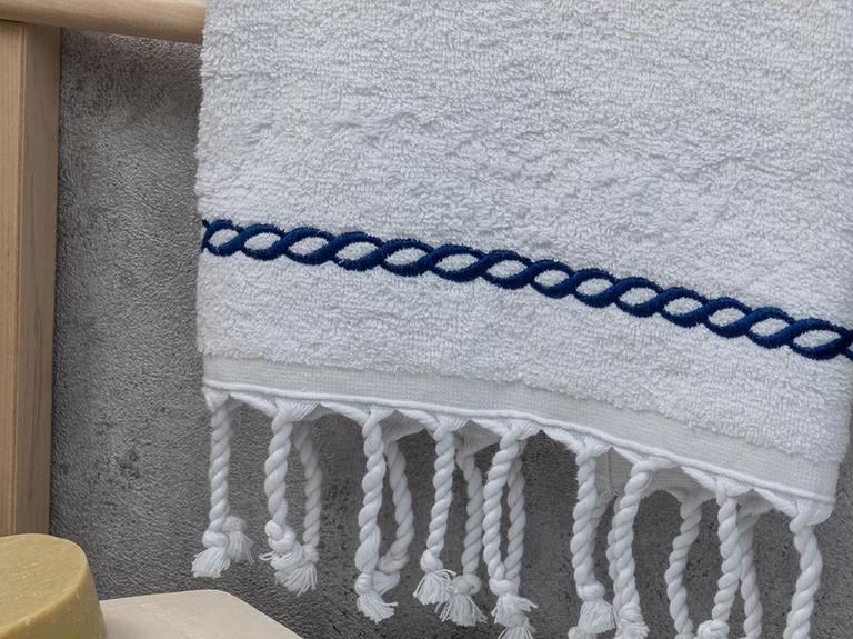Rope Nakışlı Yüz Havlusu 50X80 Cm Lacivert