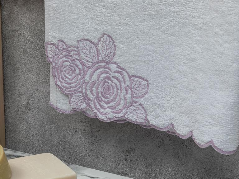 Big Flower Nakışlı Yüz Havlusu 50x80 Cm Beyaz-lila