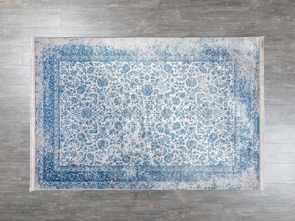 Elves Kadife Halı 160x230 Cm Mavi - Gri