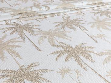 Glitter Palm Baskılı Tek Kişilik Pike 150x220 Cm Bej