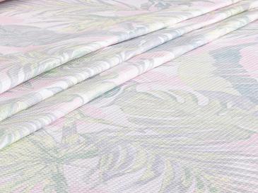 Palm Trees Baskılı Tek Kişilik Pike 150x220 Cm Pembe