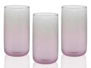 Degetto Cam 3'lü Meşrubat Bardağı 365 Ml Gri - Pembe