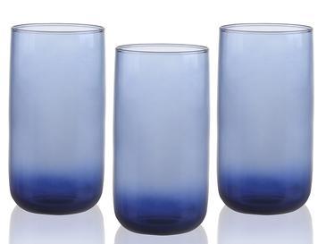 Blueberry Cam 3'lü Meşrubat Bardağı 365 Ml Lacivert