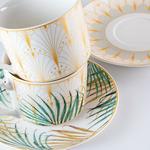 Palm New Bone 4 Parça Çay Fincanı Takımı 220 Ml Krem - Yeşil - Sarı