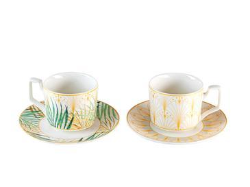 Palm New Bone 4 Parça Kahve Fincan Takımı 80 Ml Krem - Yeşil - Sarı