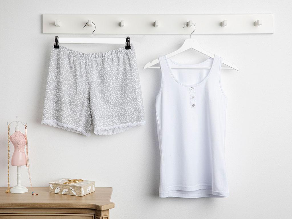 Blooming Beauty Full Lyc Süprem- Pamuk Elastan Şort Pijama Takımı L-xl Beyaz - Gri