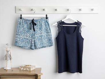Lace Stripes Full Lyc Süprem- Pamuk Elastan Şort Pijama Takımı S-m Lacivert