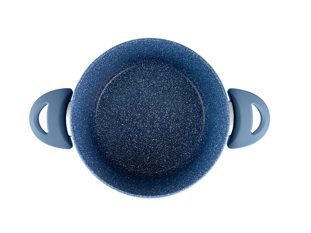Pure Granit Cam Kapaklı Derin Tencere 20 Cm Lacivert