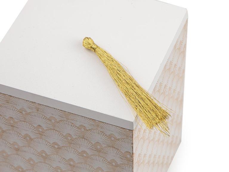 Victoria Mdf Dekoratif Kutu 10 X 10 X 13,5 Cm Beyaz