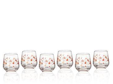 Pinky Rose Cam 6'lı Kahve Yanı Su Bardağı 115 Ml Şeffaf