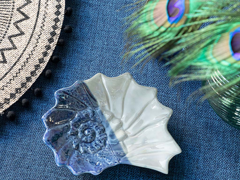 Corrosion Effect Porselen Dekoratif Tabak 17x13x2 Cm Mavi-beyaz