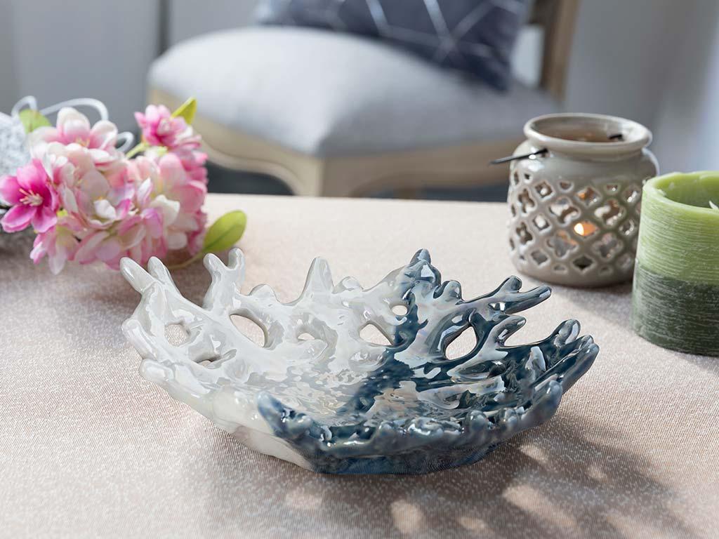 Marine Life Porselen Dekoratif Tabak 22,3x19,7x5,8 Cm Mavi-beyaz
