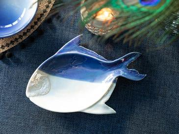 Fish Effect Porselen Dekoratif Tabak 22,8x16x2,4 Cm Mavi-beyaz