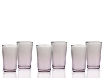Degetto Cam 6'lı Kahve Yanı Su Bardağı 100 Ml Gri - Pembe