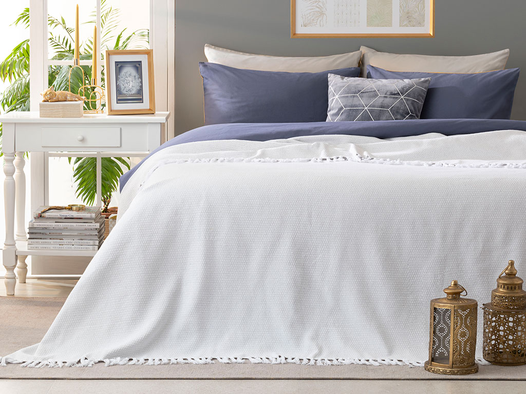 Pure Dokuma Tek Kişilik Yatak Örtüsü 160x240 Cm Beyaz