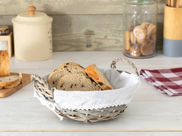 Fiesta Hasır Yuvarlak Ekmek Sepeti 25X9 Cm Bej