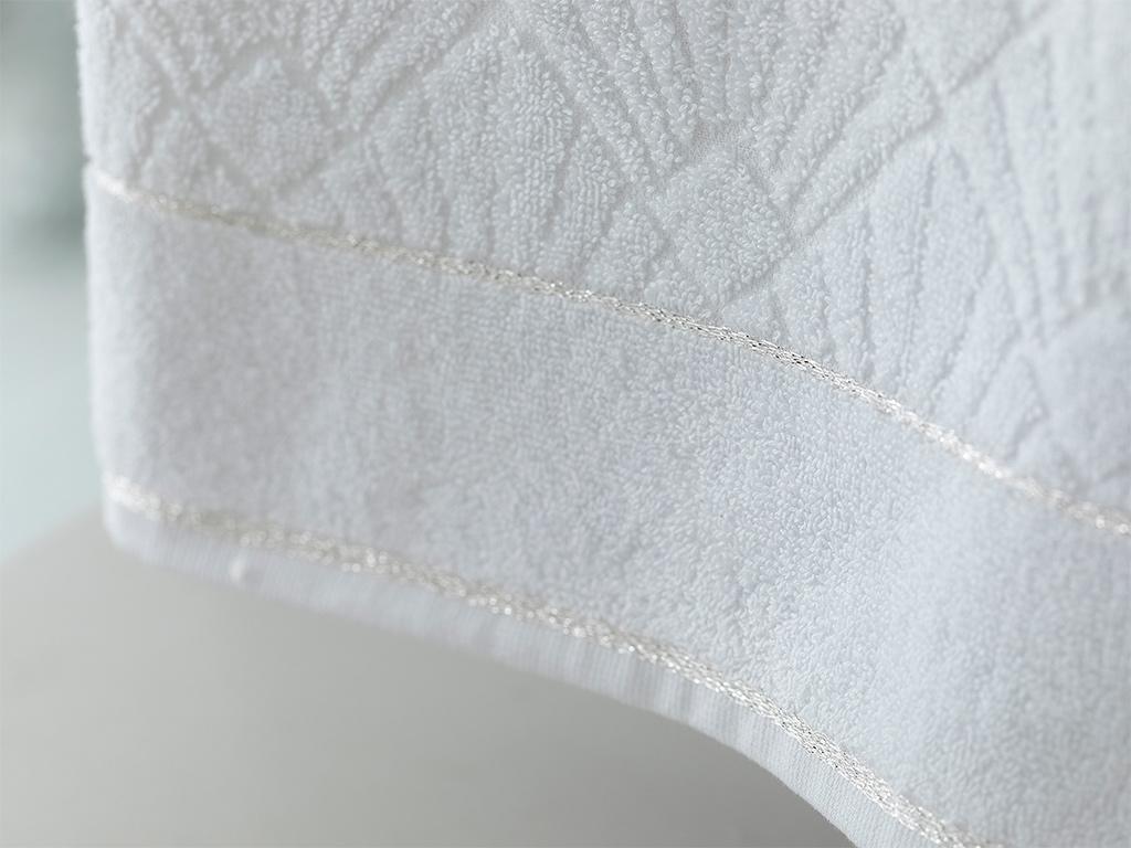 Artdeco Marble Jakarlı Yüz Havlusu 50x80 Cm Beyaz