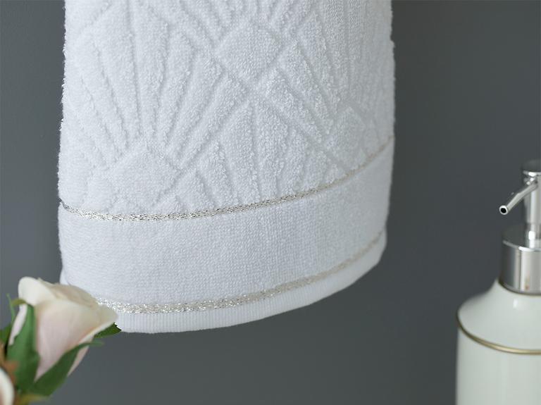 Artdeco Marble Jakarlı El Havlusu 30X45 Cm Beyaz