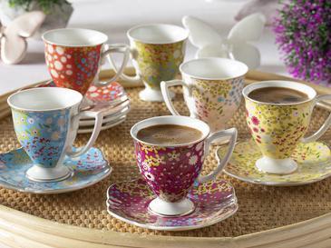 Boheme New Bone 6 Kişilik Kahve Fincan Takımı 90 Ml Renkli