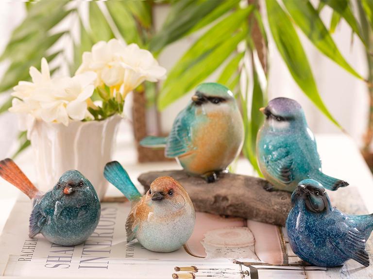 Birds Style Stone Powder/Polyresin Biblo 22x6,2x11 Cm Mavi