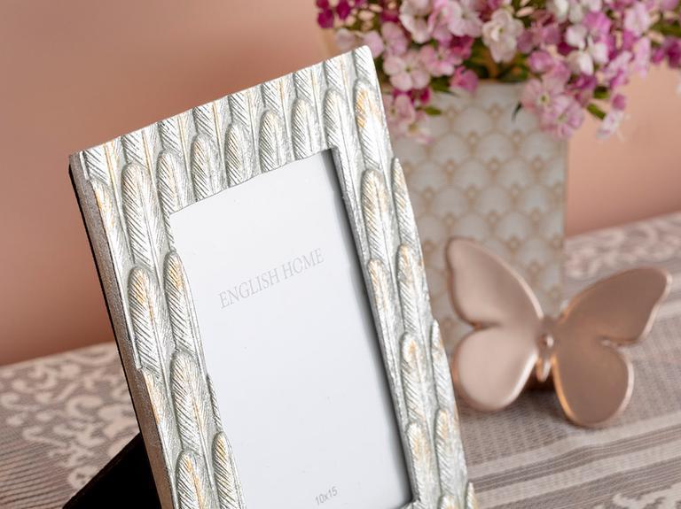 Glitter Palm Polyresin Çerçeve 15X1,5X20 Cm Gümüş